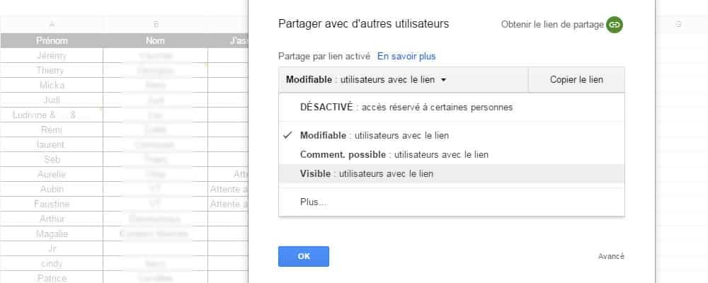 partage sur google drive