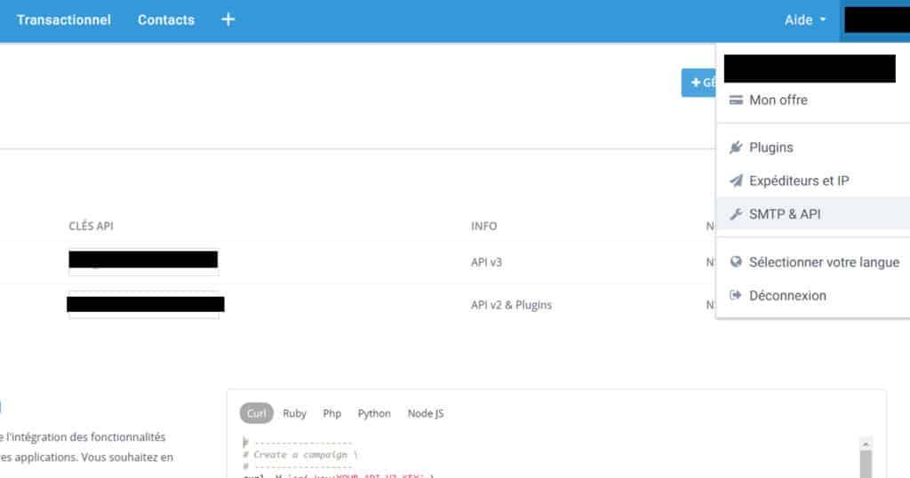 recuperer API cle