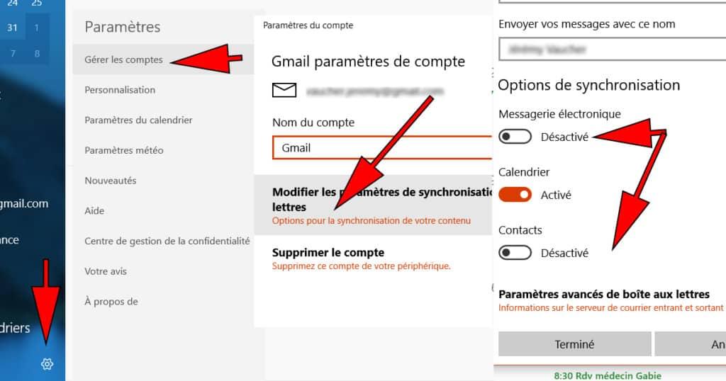 desactiver courrier microsoft