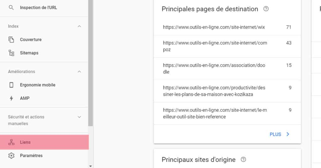 backlinks dans search console