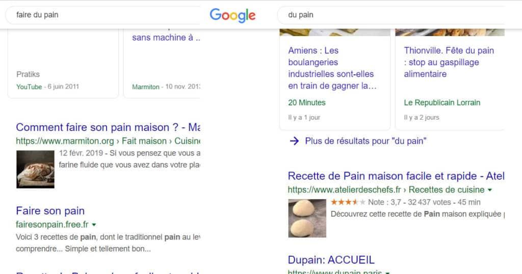 requête sur google