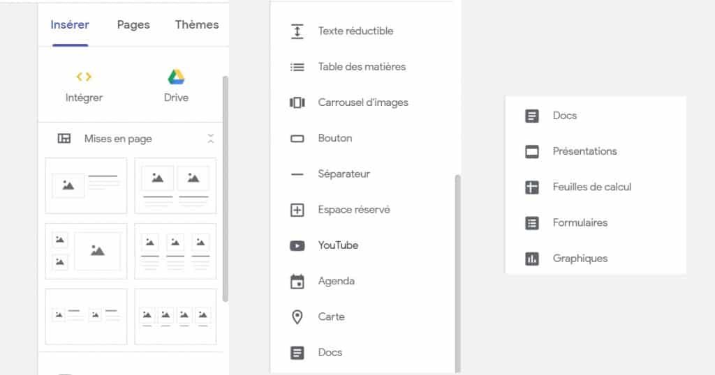 outils sur google sites