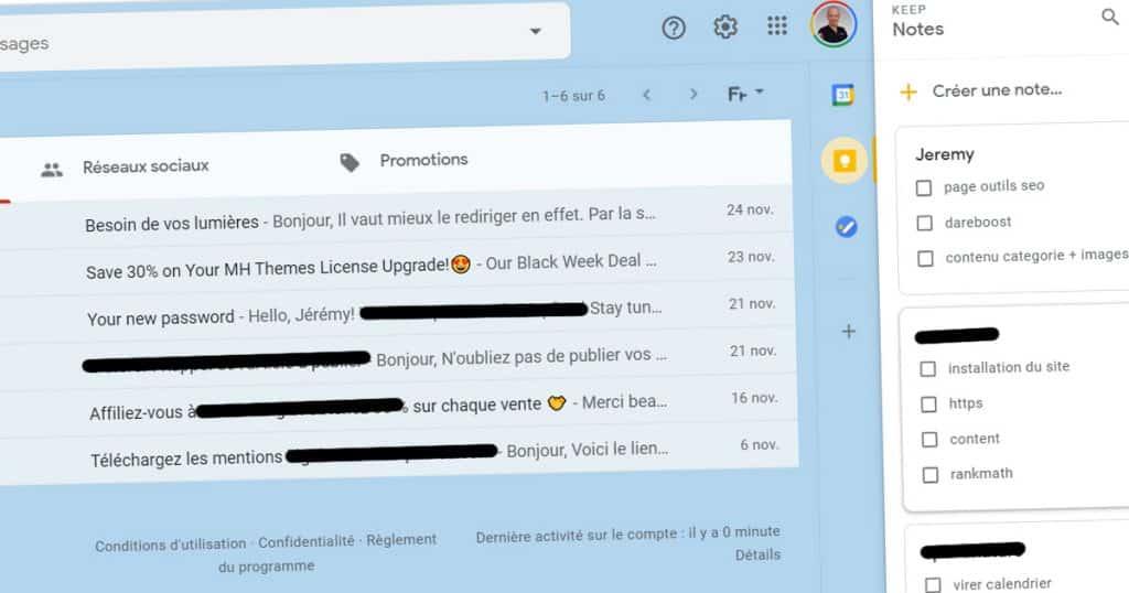 keep dans gmail